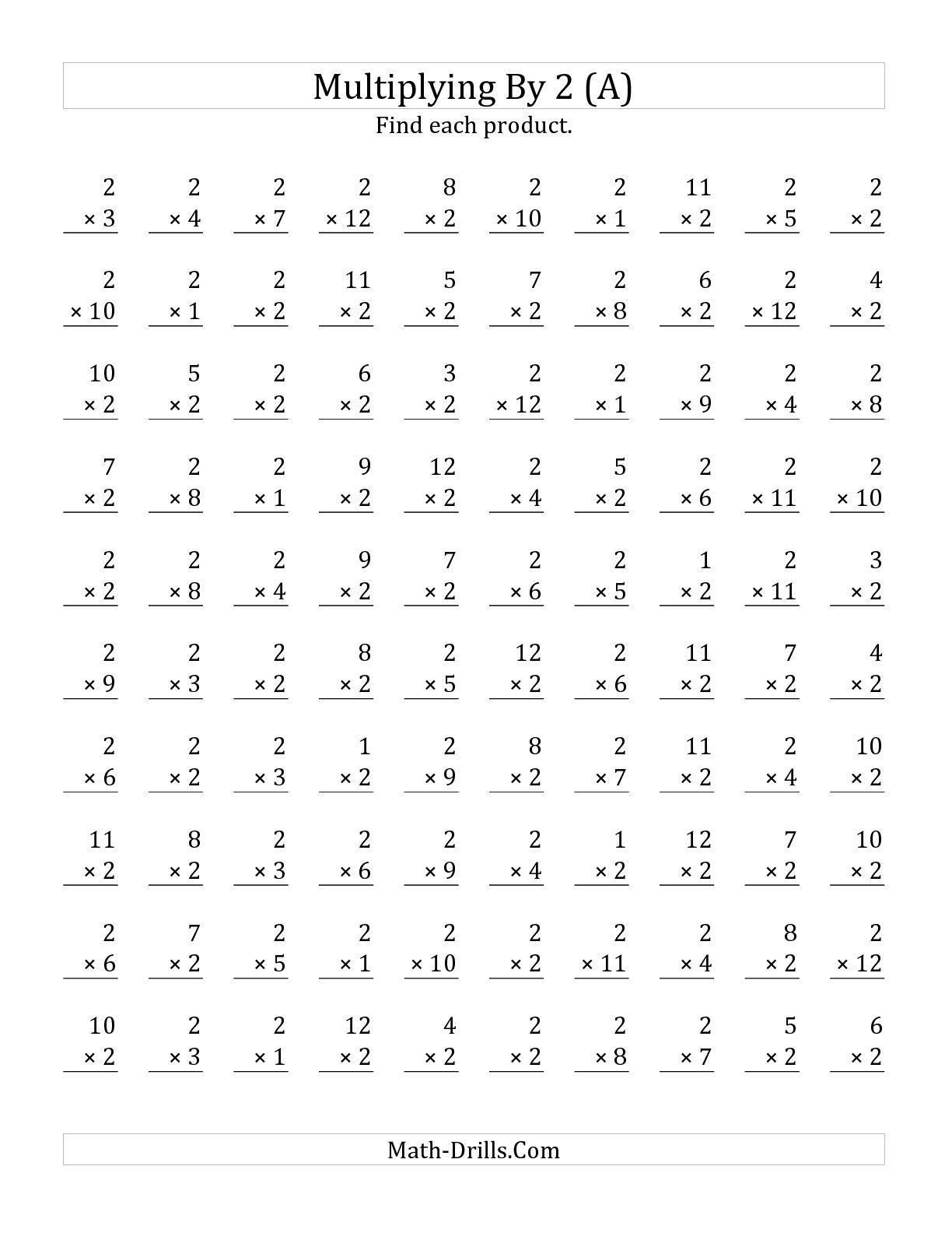 2 by 1 Multiplication Worksheets the Multiplying 1 to 12 by 2 A Math Worksheet From the