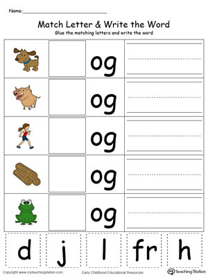 og word family match letter and write the color kindergarten building words printable worksheets three for coloring pages rhyming free list of