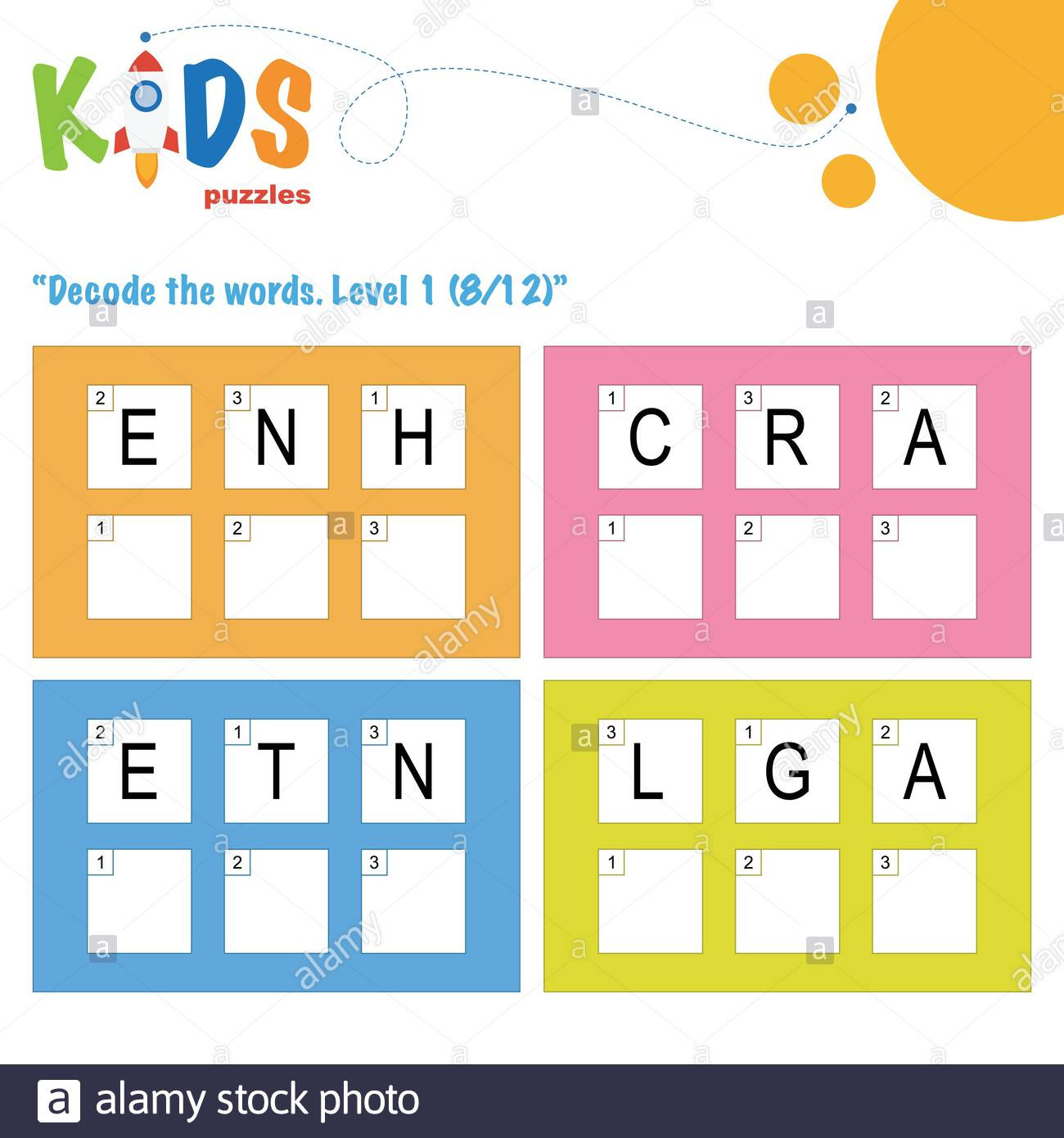 decode the 3 letter words worksheet practice for preschool elementary and middle school kids fun logic puzzle activity sheet image