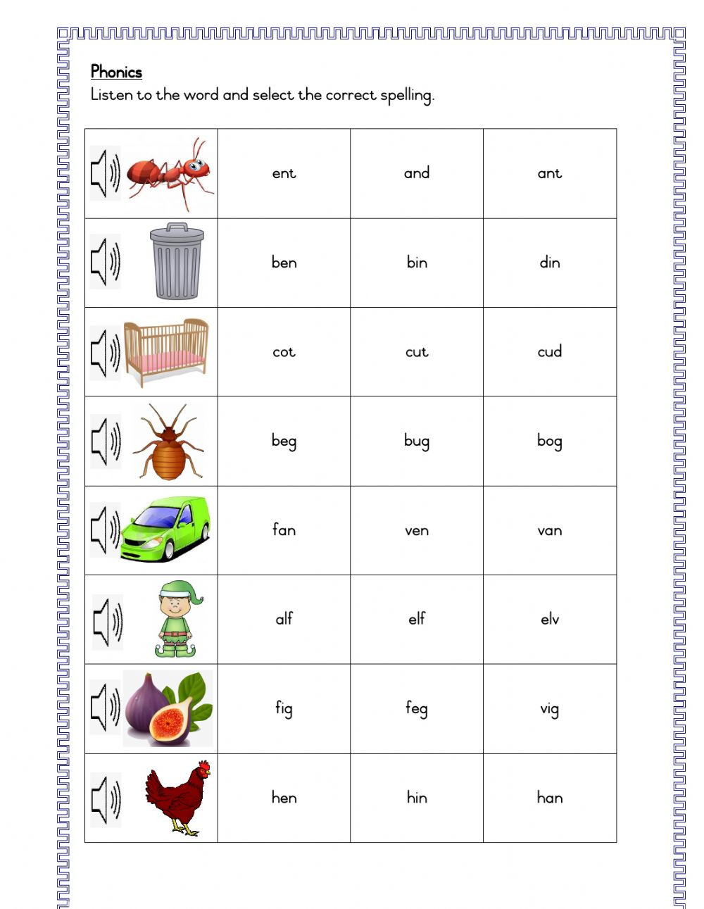 Phonics choose correct spelling 3 letter words yl zs