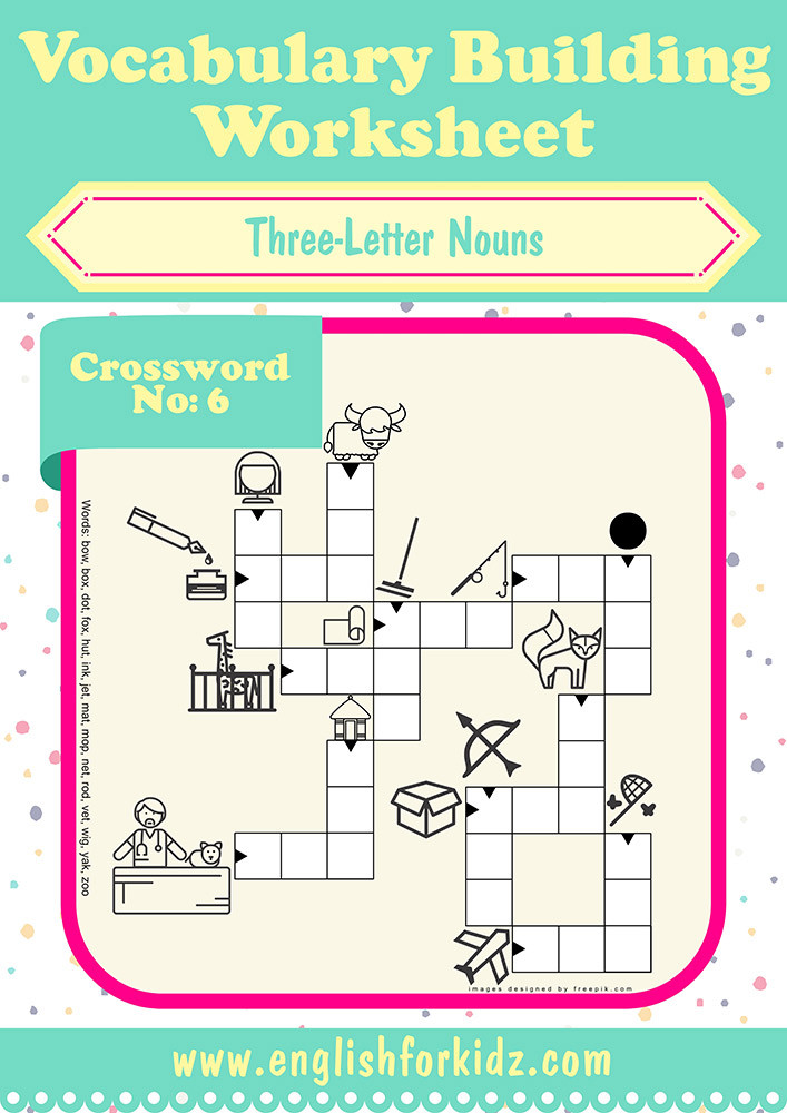 vocabulary building worksheets three letter nouns crossword 6