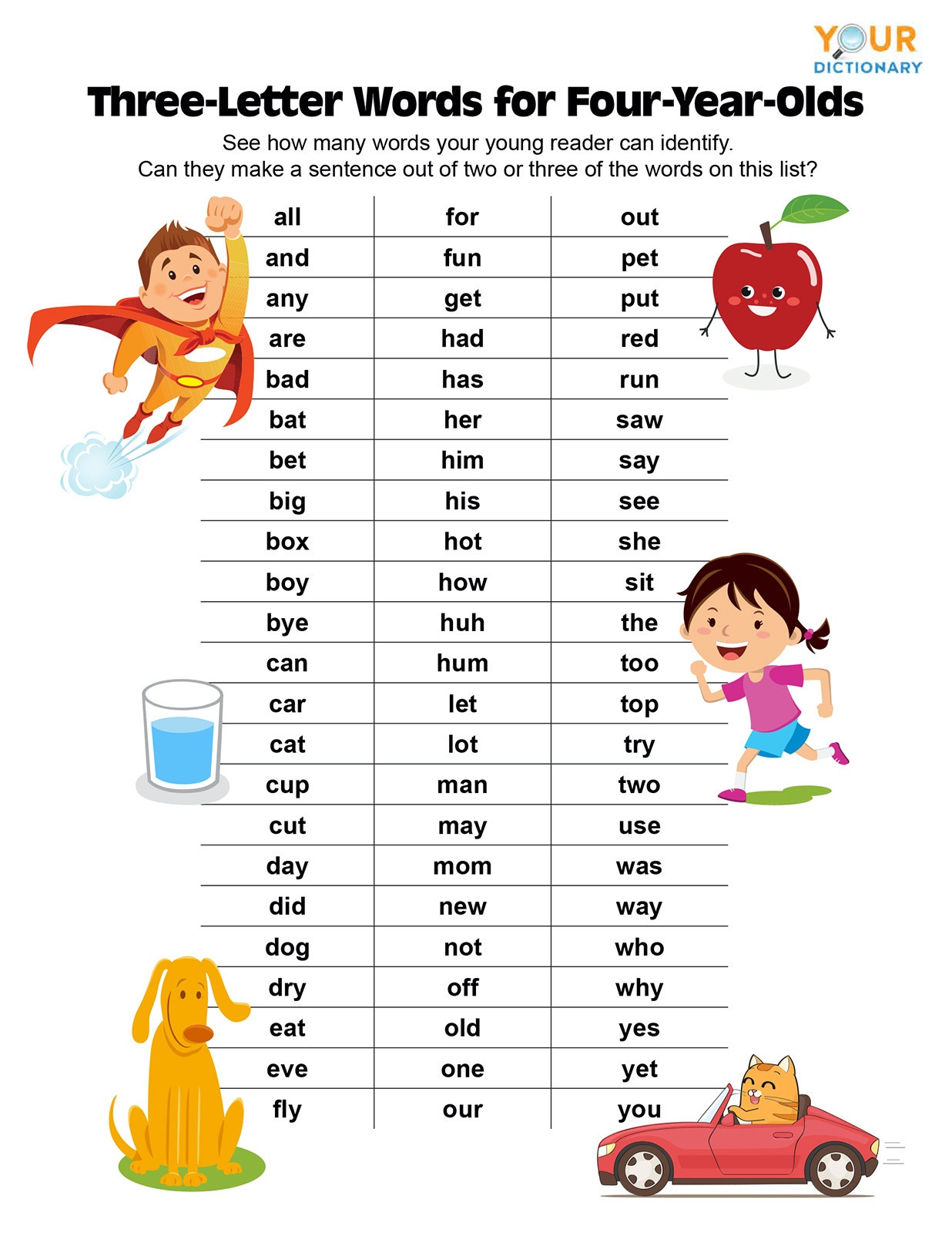 three letter words for 4 year olds