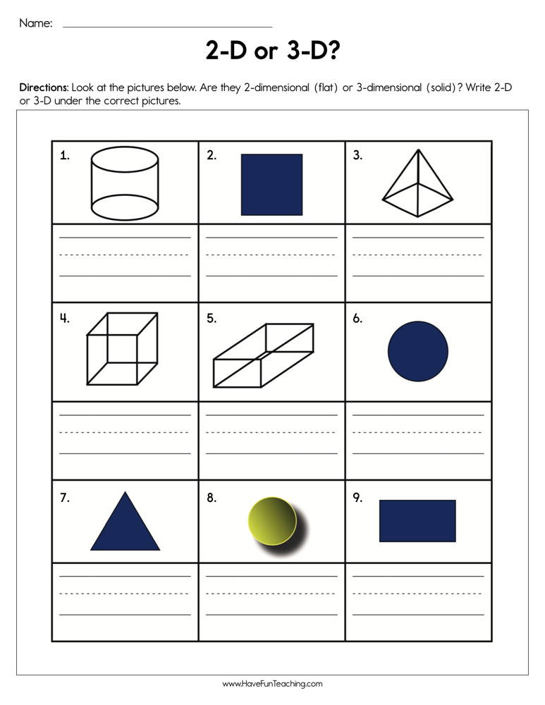 3d Shapes Printable Worksheets 2d or 3d Shapes Worksheet