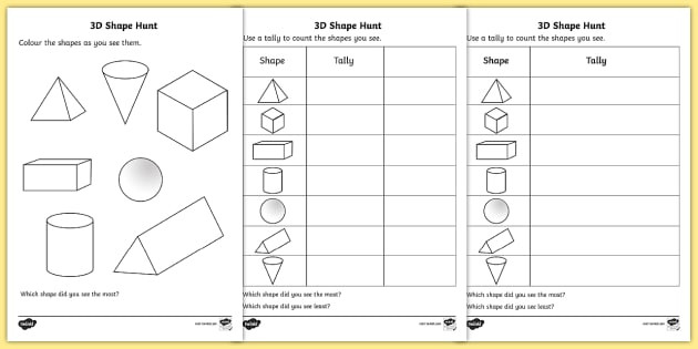 3d Shapes Printable Worksheets 3d Shape Hunt Worksheet Worksheet Teacher Made