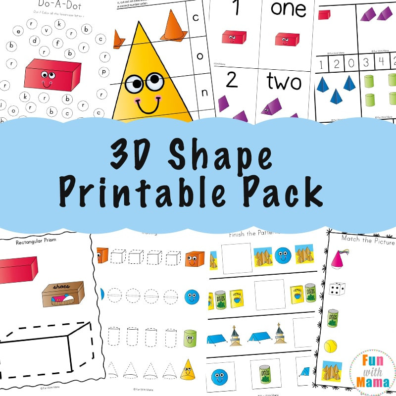 3d Shapes Printable Worksheets 3d Shape Worksheets Fun with Mama
