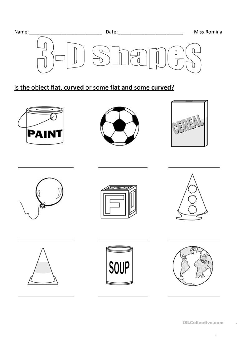 3d Shapes Printable Worksheets 3d Shapes English Esl Worksheets for Distance Learning and