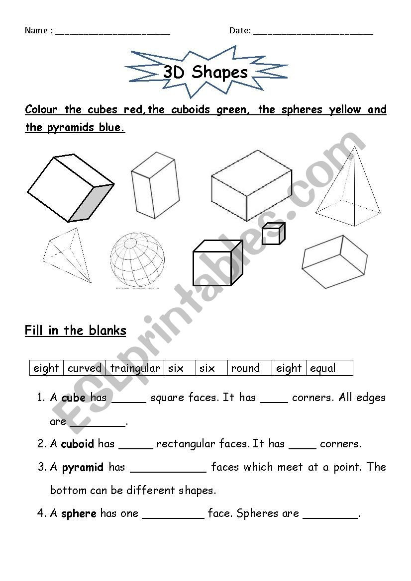 3d Shapes Printable Worksheets 3d Shapes Esl Worksheet by Jcar0045