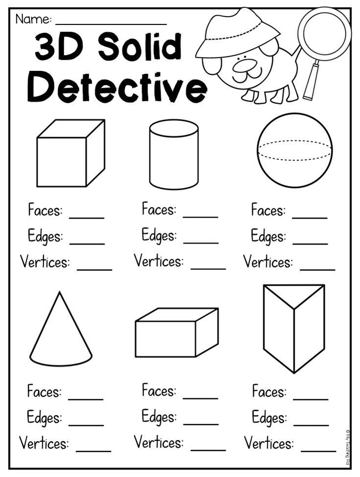 3d Shapes Printable Worksheets 3d solid Detective Worksheet for Students to Count Faces