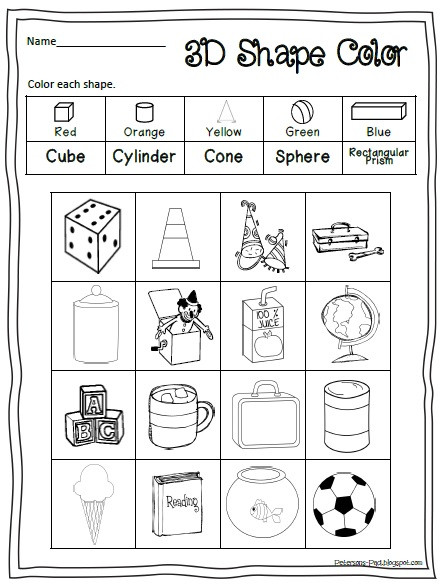 3d Shapes Printable Worksheets 5 Best Printable 3d Shapes Kindergarten Printablee