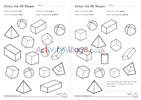 3d Shapes Printable Worksheets Colour the 3d Shapes Worksheets