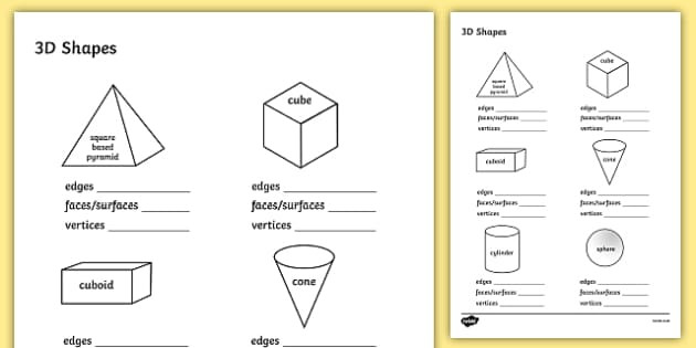 3d Shapes Printable Worksheets Free Properties Of 3d Shapes Worksheet Third Grade Resource