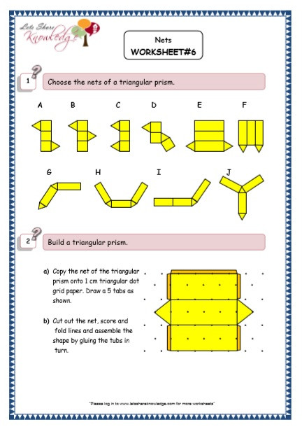 3d Shapes Printable Worksheets Grade 5 Maths Resources Nets Of 3d Shapes Printable