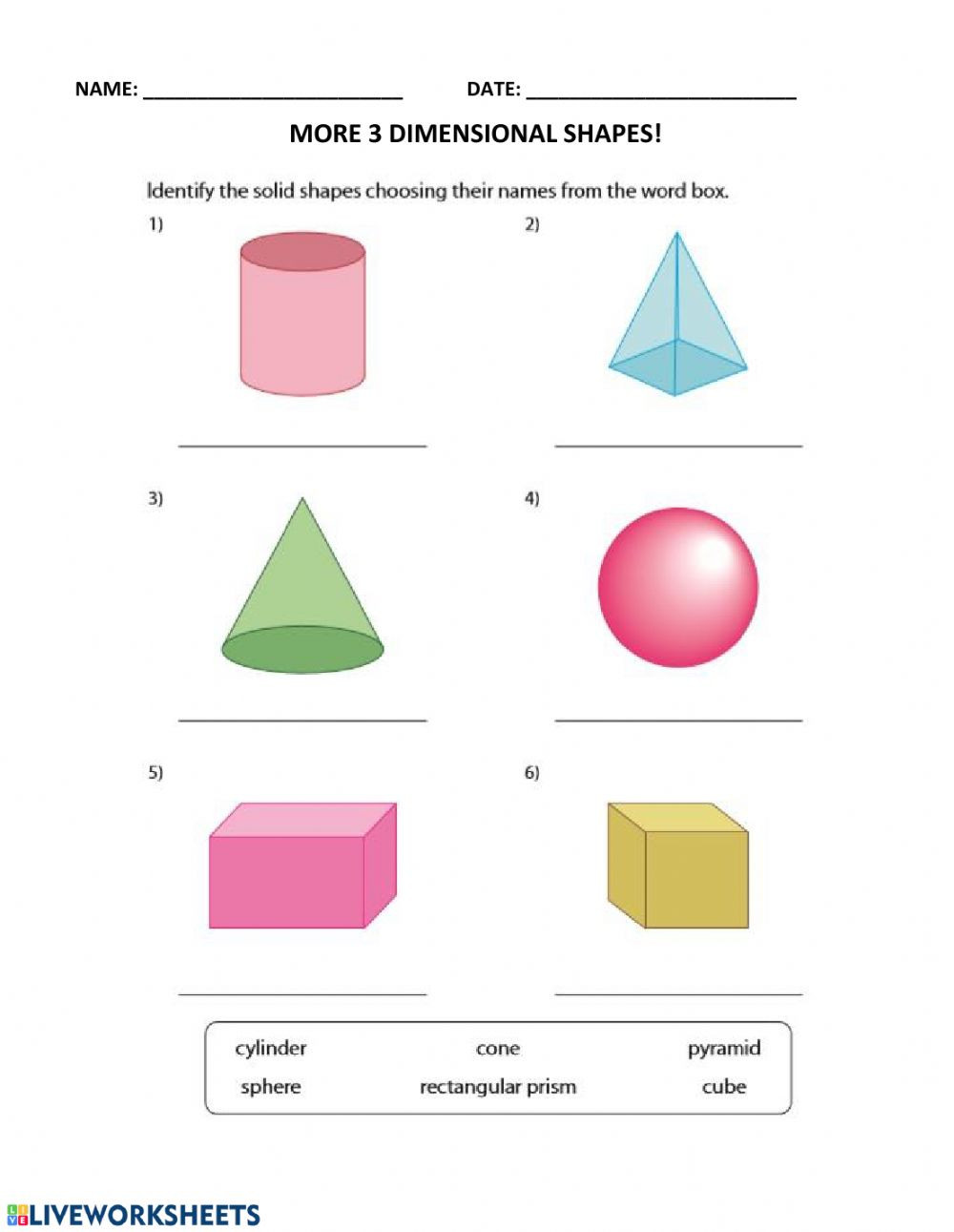3d Shapes Printable Worksheets More 3d Shapes Worksheet