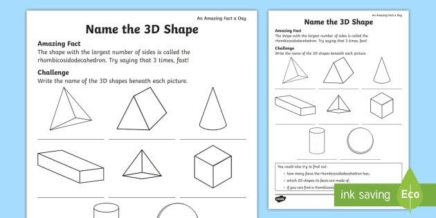3d Shapes Printable Worksheets Names Of 3d Shapes Worksheet Math Resource Twinkl