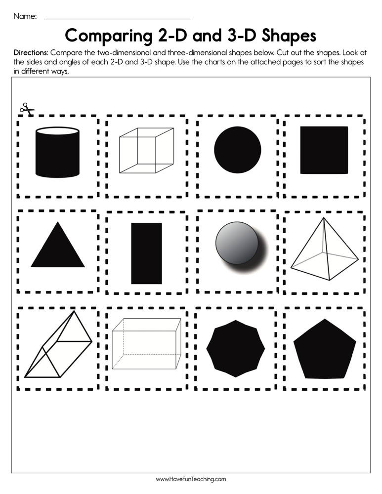 3d Shapes Printable Worksheets Paring 2d and 3d Shapes Worksheet