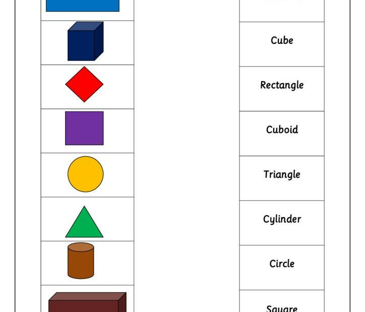 3d Shapes Printable Worksheets Year 1 Match 2d and 3d Shapes Names Worksheet