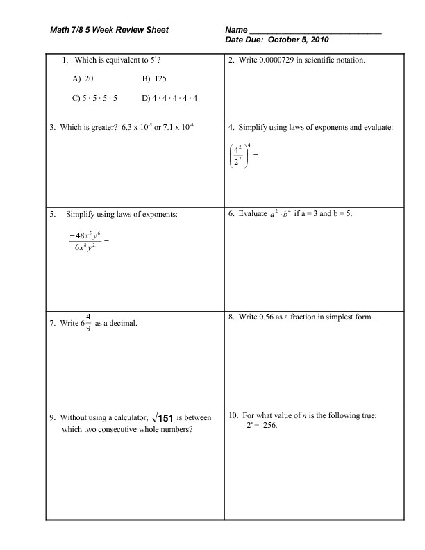 math 7 8 week review sheet exponents radicals rational numbers