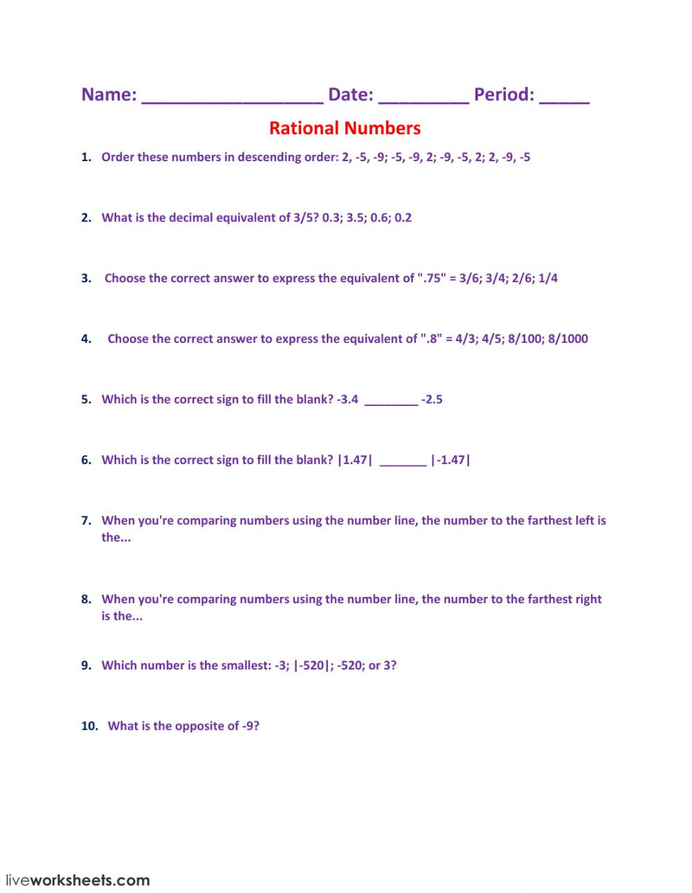 Rational Numbers gx nf