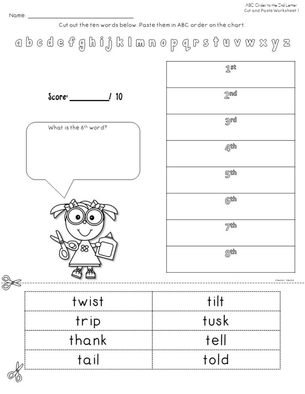 Abc order 2nd Letter Worksheets Abc order to the 2nd Letter