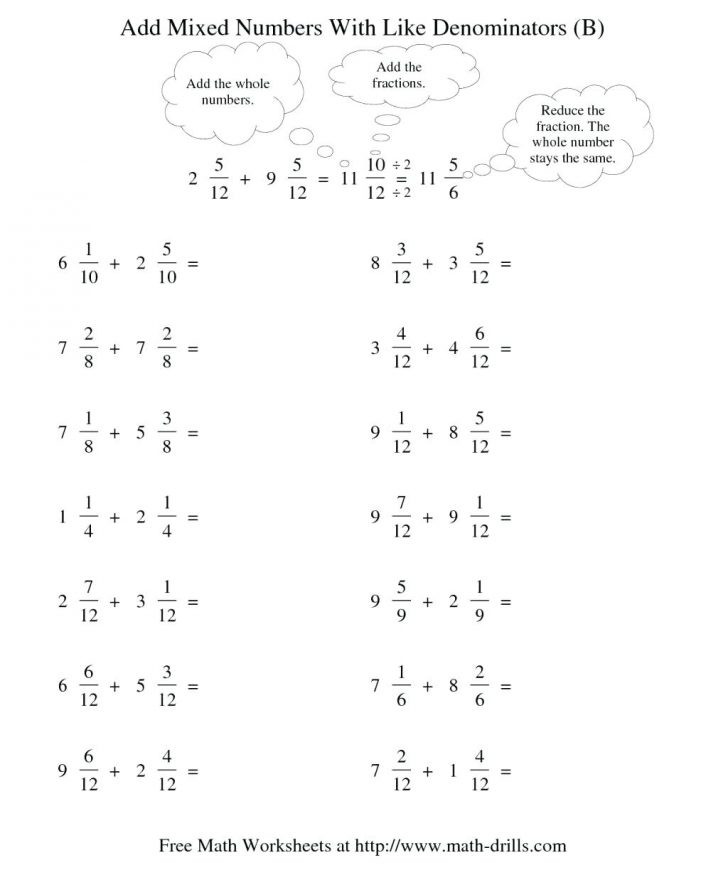 Add Mixed Numbers Worksheet Printable Free Math Worksheets Third Grade Fractions and