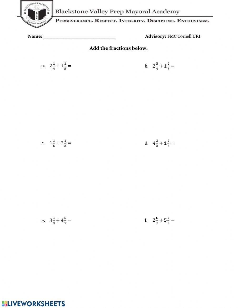 Add Subtract Mixed Numbers Worksheet Adding Subtracting Fractions with Mixed Numbers Worksheet