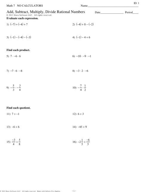 Add Subtract Multiply Divide Worksheet Add Subtract Multiply Divide Rational Numbers Review