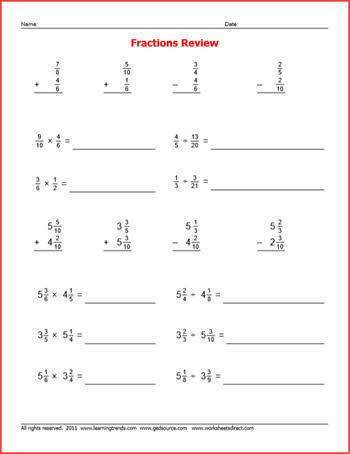 Add Subtract Multiply Divide Worksheet Fraction Review Problems