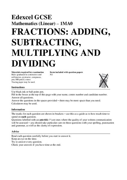 Add Subtract Multiply Divide Worksheet Fractions Adding Subtracting Multiplying and Dividing