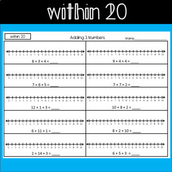 Adding 3 Numbers Worksheets Adding 3 Numbers Using A Number Line Worksheets