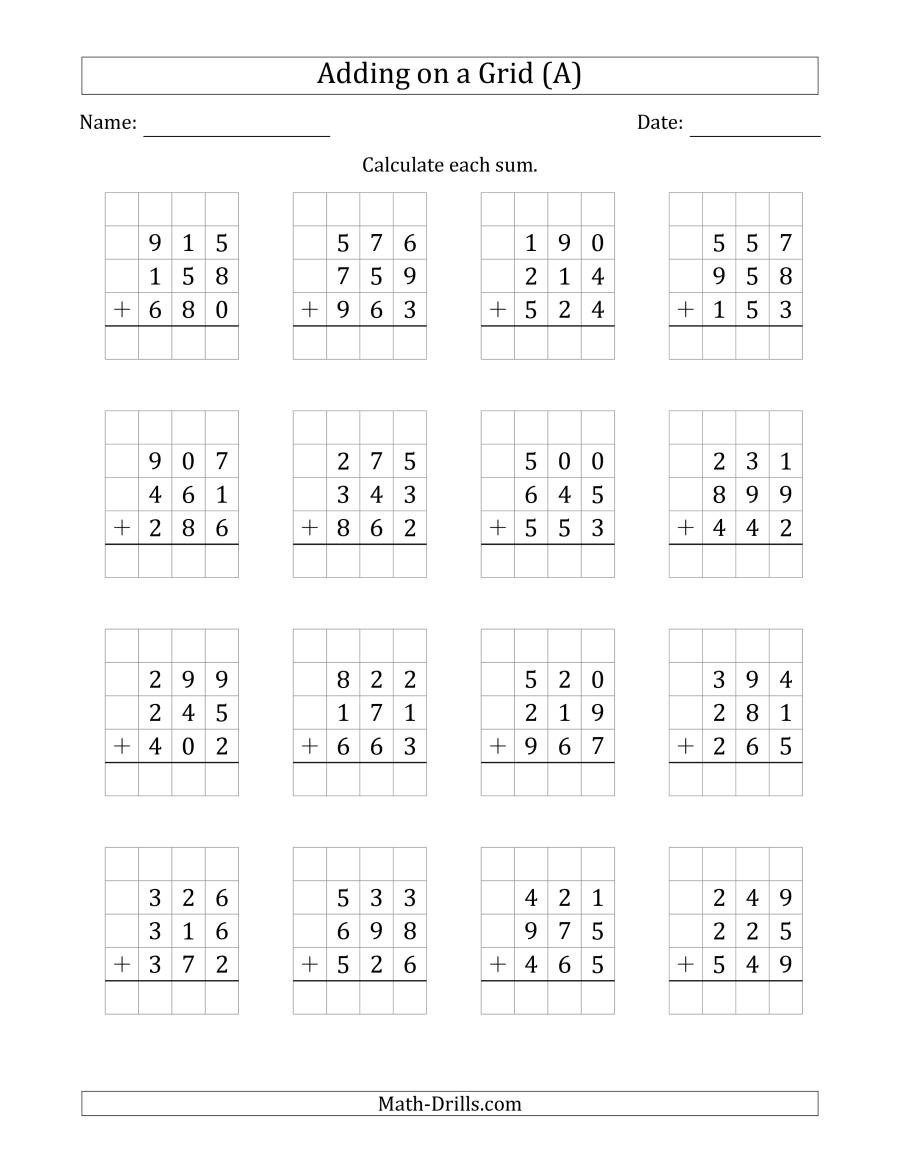 Adding 3 Numbers Worksheets Adding Three 3 Digit Numbers On A Grid A