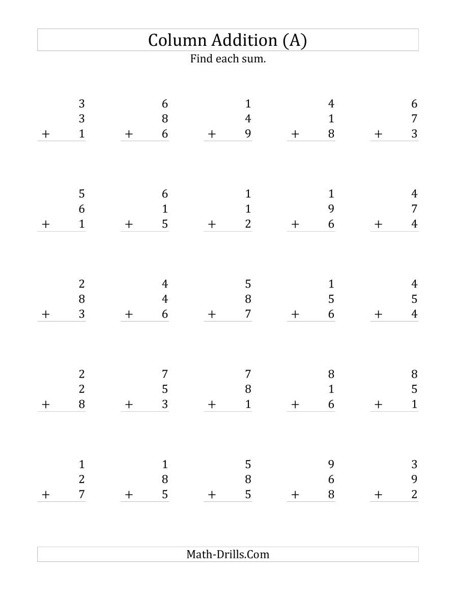 Adding 3 Numbers Worksheets Adding Three E Digit Numbers A