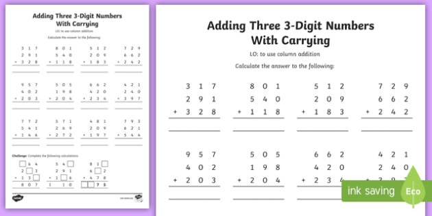 Adding 3 Numbers Worksheets Free Adding Three 3 Digit Numbers In A Column Worksheet