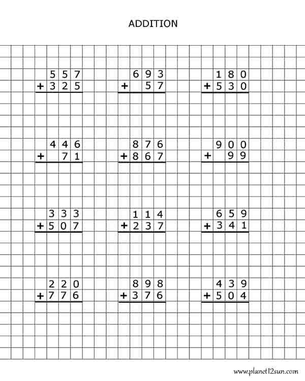 Adding 3 Numbers Worksheets Graph Paper Addition 3 Digits Bluebirdplanet Printables