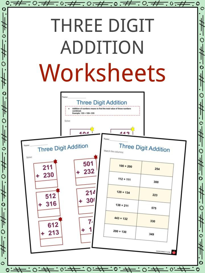 Adding 3 Numbers Worksheets Three Digit Addition Worksheets