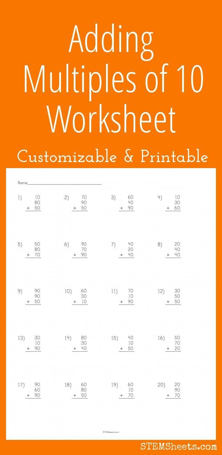 Adding Multiples Of 10 Worksheet Adding Multiples Of Ten Worksheet