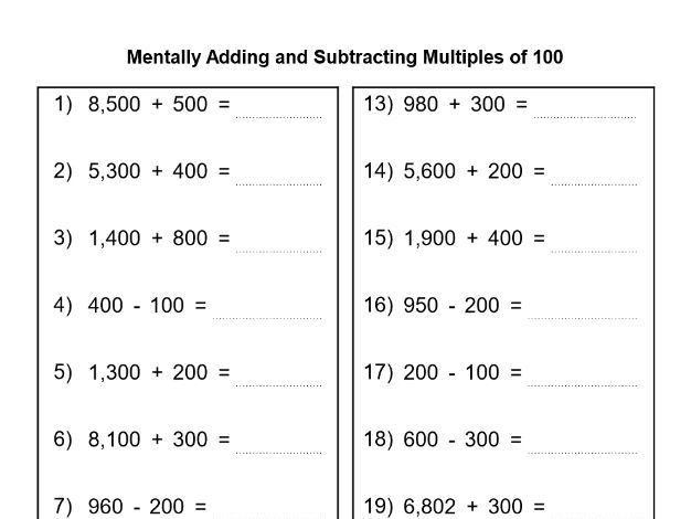 Adding Multiples Of 10 Worksheet Menatally Adding and Subtracting Multiples Of 10 and 100