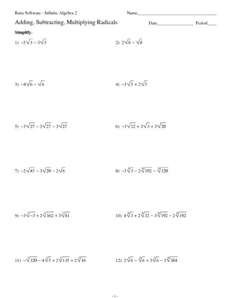 Adding Subtracting Multiplying Radicals Worksheet Adding Subtracting Multiplying Radicals Worksheet for 11th