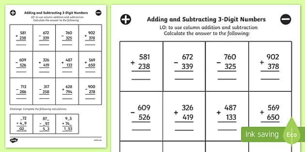 Adding Three Digit Numbers Worksheet Adding and Subtracting 3 Digit Numbers In A Column Mixed Worksheet Year 3