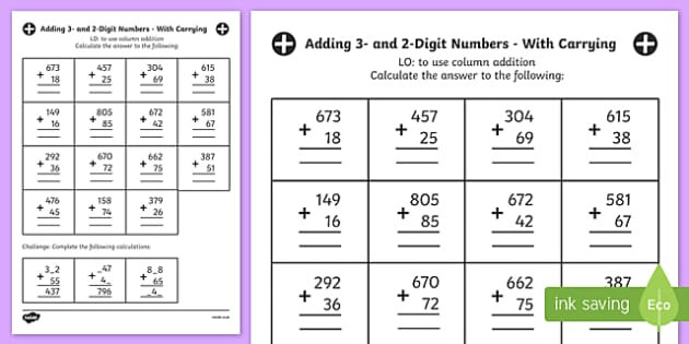 Adding Three Digit Numbers Worksheet Free Adding 3 and 2 Digit Numbers In A Column with Carrying Answers Worksheet Year 3