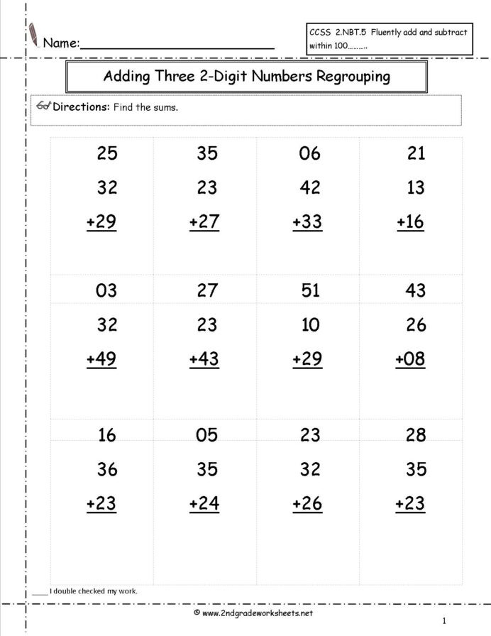 Adding Three Digit Numbers Worksheet Two Digit Addition Worksheets Numbers