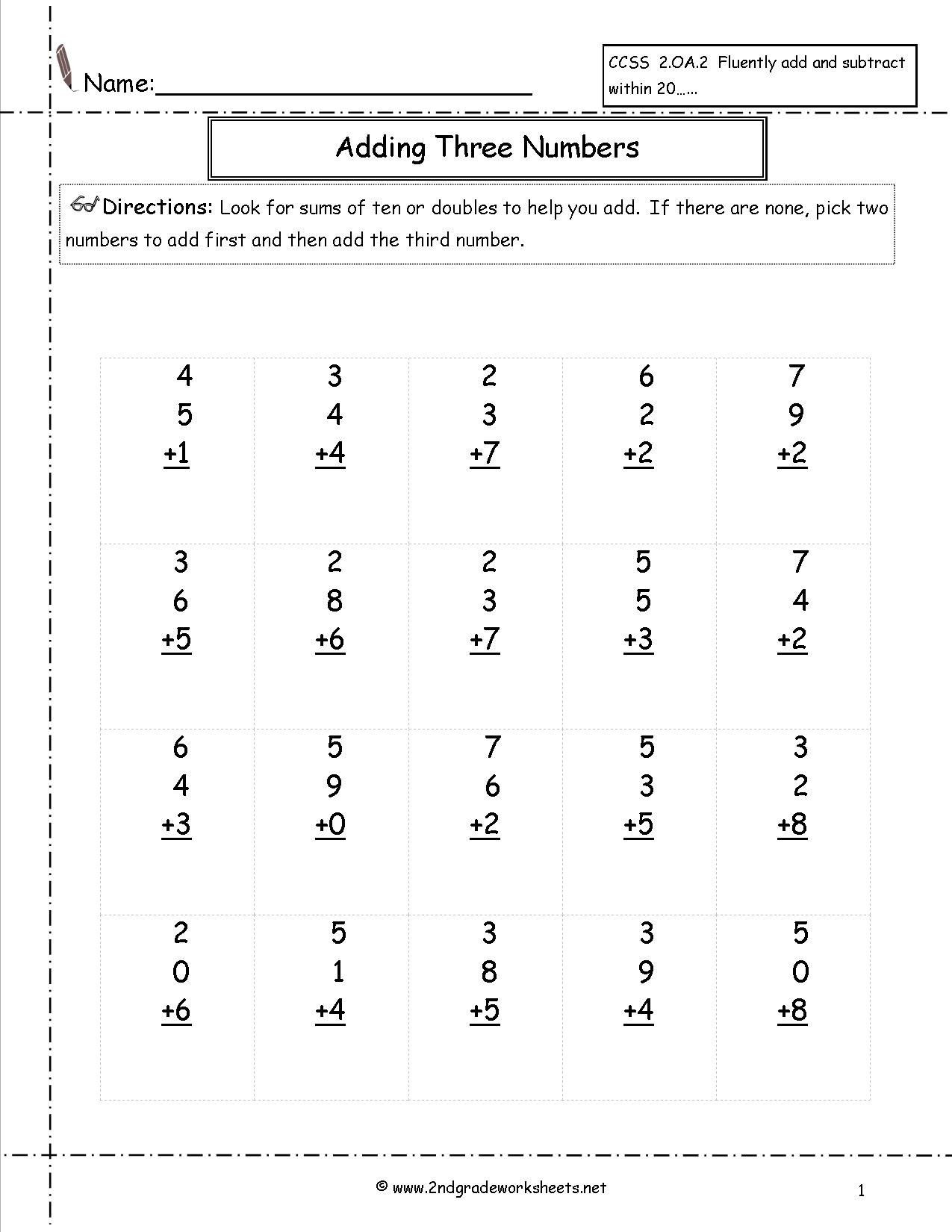 Adding Three Number Worksheets 4 Free Math Worksheets Second Grade 2 Addition Add 3 Single