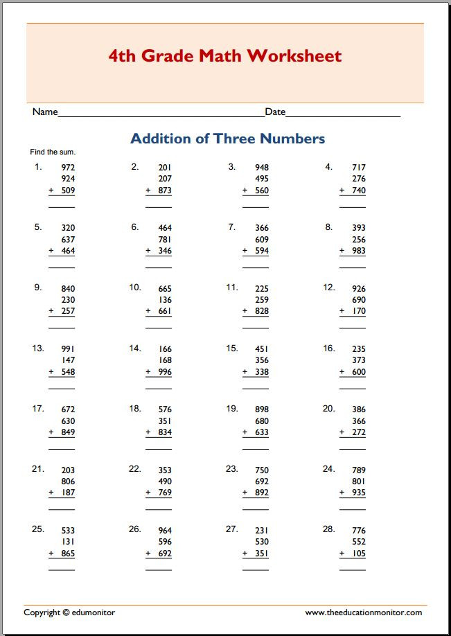 Adding Three Number Worksheets 4th Grade Addition with Three Addends Worksheets Archives