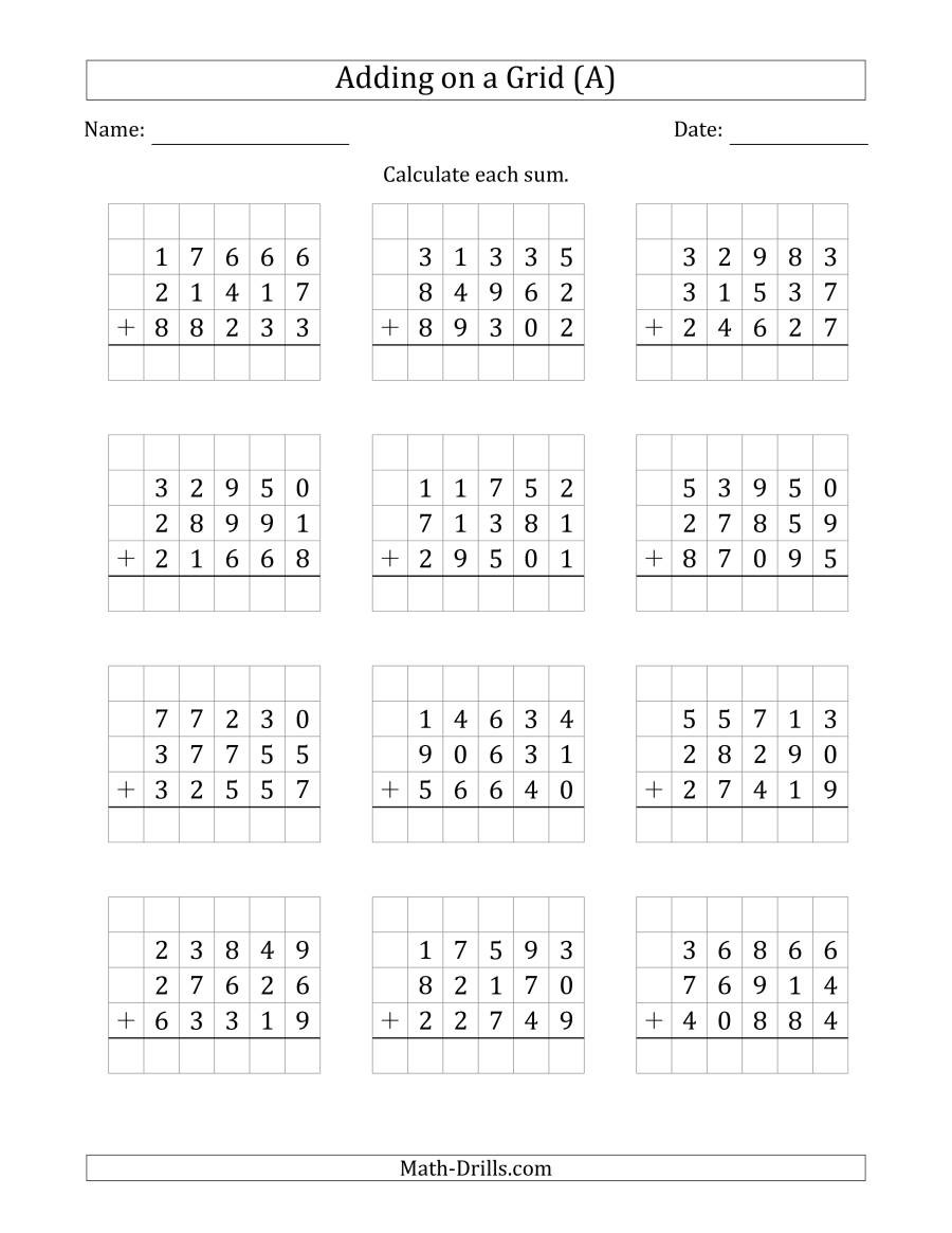 Adding Three Number Worksheets Adding Three 5 Digit Numbers On A Grid A