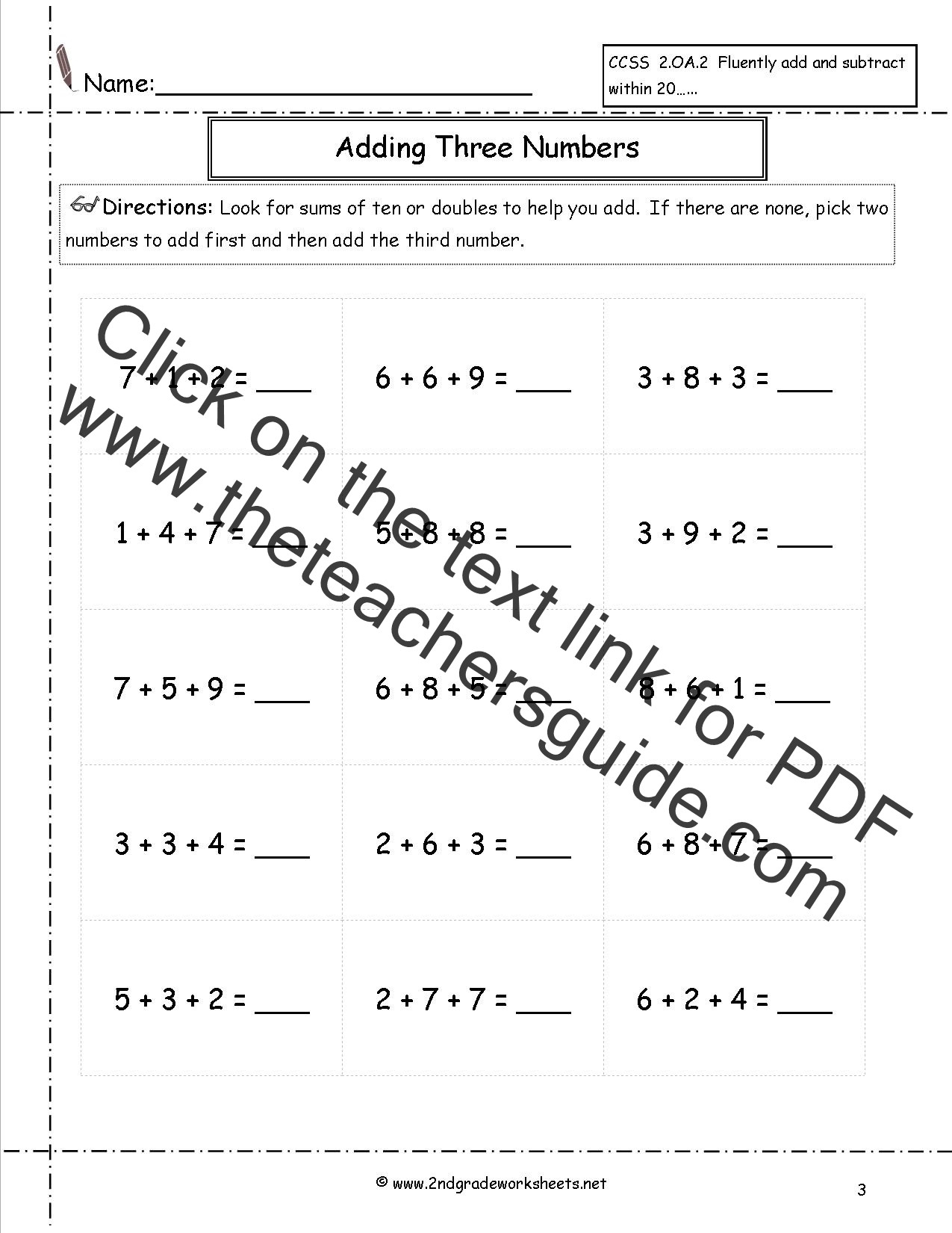 Adding Three Number Worksheets Adding Three or More Single Digit Numbers Worksheets