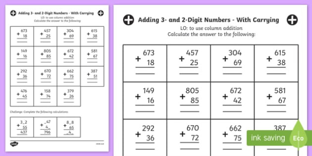 Adding Three Number Worksheets Free Adding 3 and 2 Digit Numbers In A Column Worksheet
