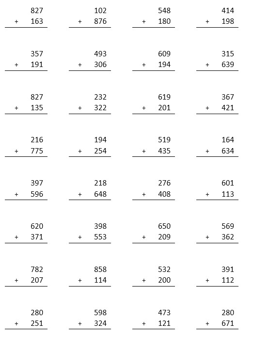 2 grade worksheets adding three digit numbers 1
