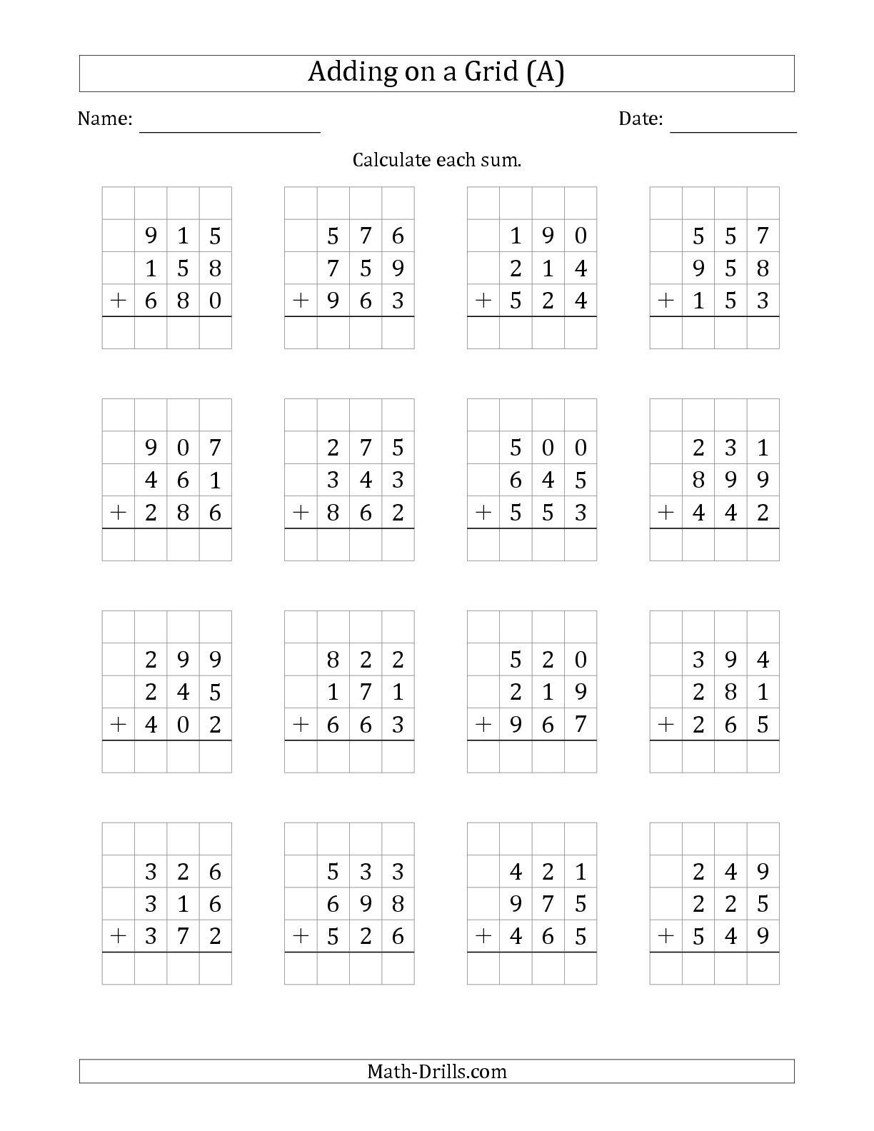 Adding Three Numbers Worksheets the Adding Three 3 Digit Numbers On A Grid A Math