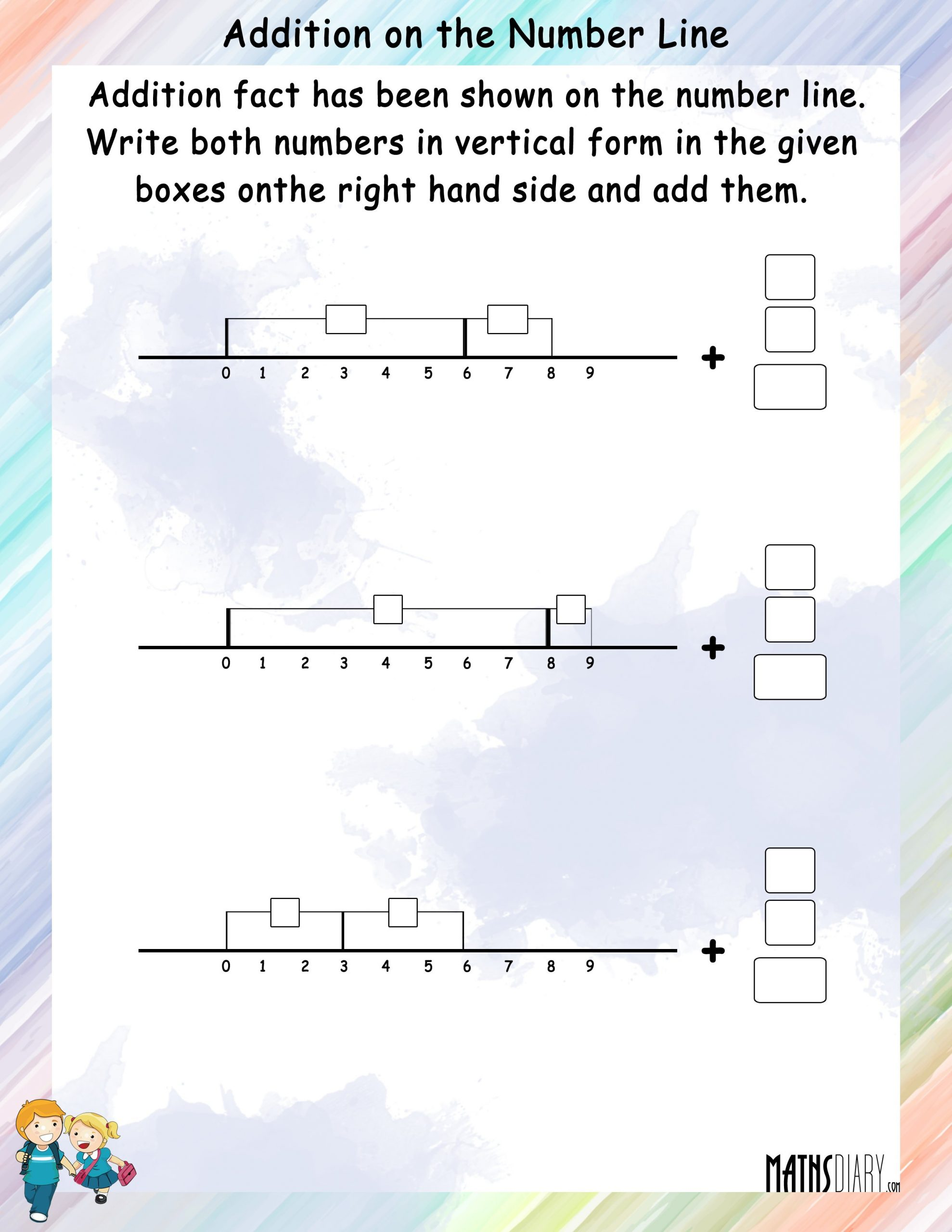 Addition Using Number Line Worksheets Addition On A Number Line Math Worksheets Mathsdiary