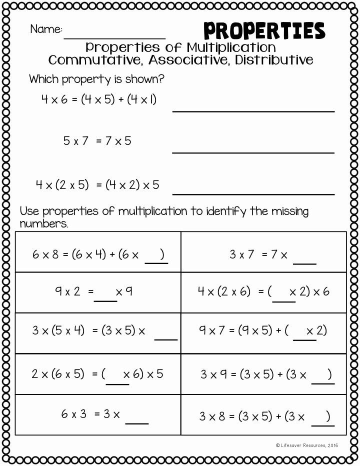 Associative Property Of Multiplication Worksheet 3rd Grade Mutative Property Multiplication Worksheets