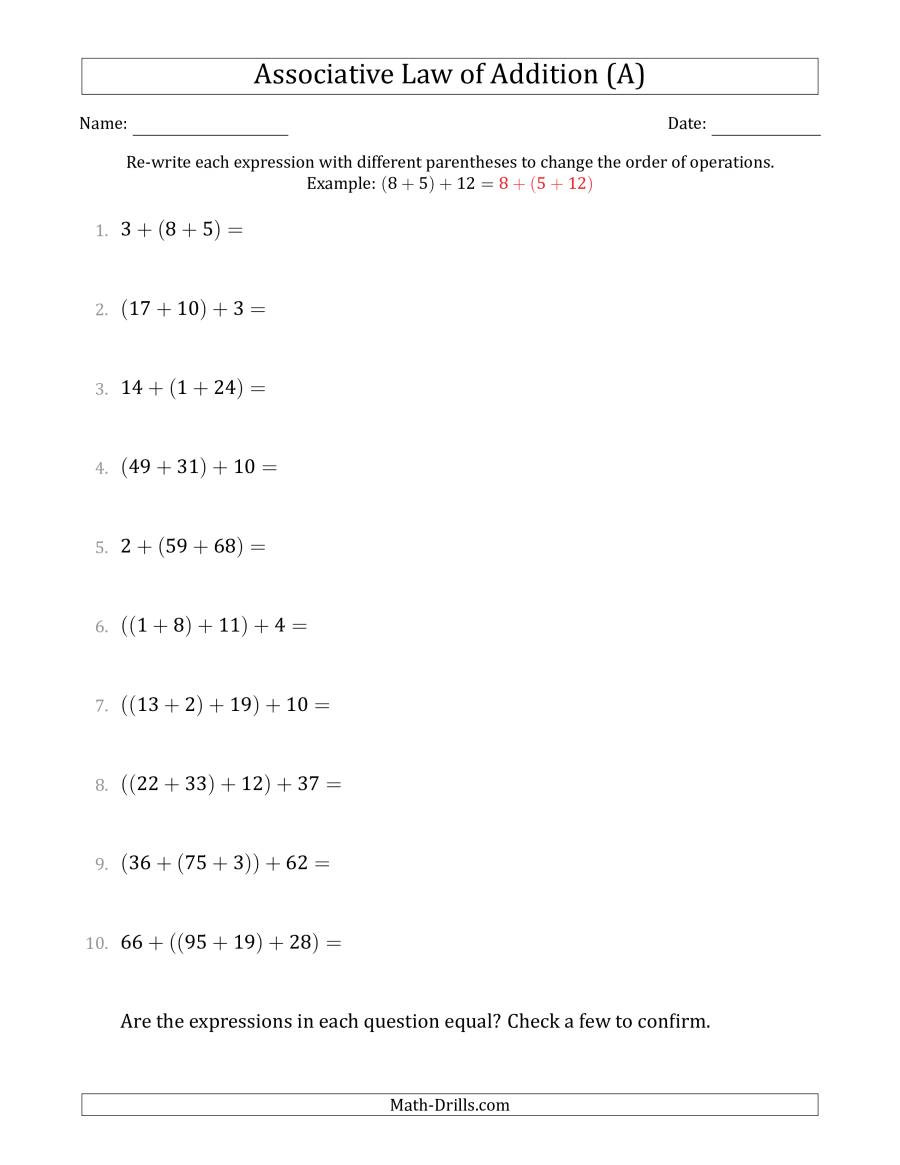 Associative Property Of Multiplication Worksheet associative Law Of Addition whole Numbers Ly A